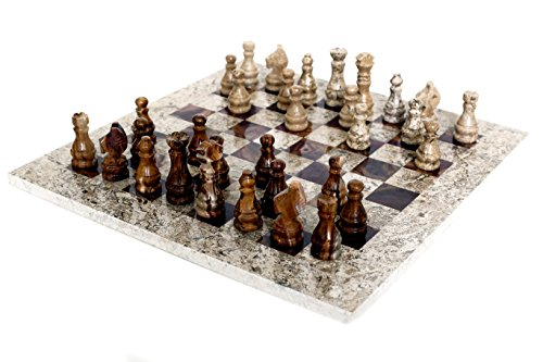 RADICALn 16 Inches Handmade Game Gift Ideas Fossil Coral and Dark Brown Marble Chess Game Marble Chess Set For Her - RADICALn 16 Zoll handgemachte Spiel Geschenkideen Fossil Koralle und dunkelbraun Marmor Schach Spiel Marmor Schach Set für sie