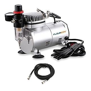 Floureon AS18-2 Airbrush Compressor Air Brush Spray Gun Kit for Craftwork Spraying,Tatto,Tanning etc.