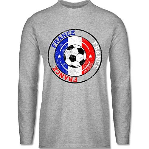 EM 2016 - Frankreich - France Kreis & Fußball Vintage - Longsleeve / langärmeliges T-Shirt für Herren Grau Meliert