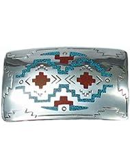 Indianerschmuck Gürtelschnalle aus Sterling Silber - South West Chip Inlay II