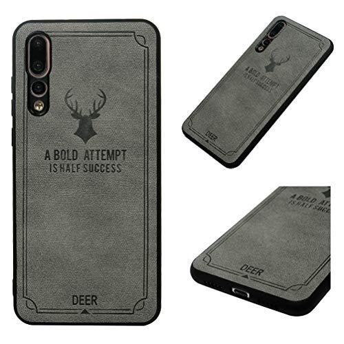 Huawei P20 Pro Hülle Case Cover Schutzhülle Handyhülle Case Handytasche PU Leder TPU Rahmen Innere PC Tasche Hardcase Schale Grau