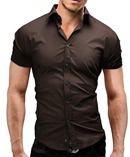 MERISH chemise homme manches courtes Slim Fit Business et casual beaucoup de couleurs différentes adapté pour le travail, les loisirs et toutes autres occasions Modell 77 brown