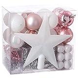 Set decorazione natalizia - 44 pezzi per l'albero di Natale: ghirlande, palle e puntale - Tema del colore: Bianco, rosa e argento