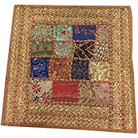 "Mogul Interior Indian Cushion Cover Patchwork Brown Embroidered Home Decor16""x16"""