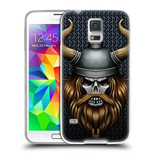Head Case Designs Wikinger Schädel Krieger Soft Gel Hülle für Samsung Galaxy S5 / S5 Neo (Krieger-schädel-t-shirt)