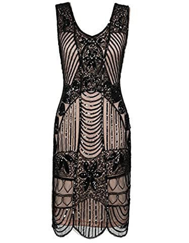 Kayamiya Femmes Retro 20s Perlé Art Déco Inspiré Robe De Gatsby Charleston M Noir Beige