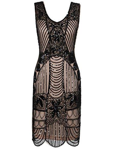 1920er Perlen Pailletten Blatt Art Deco Gatsby Flapper Kleid S Schwarz Beige (20er Jahre Kleid Schwarz)