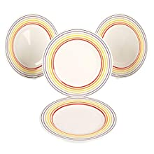BUGATTI COMBO-3329 Large Striped Dinner Plates, 27 cm, Multicolour, Set of 4, Multi-Colour