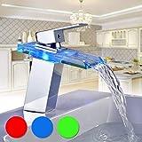 BONADE Armatur LED RGB Glas Wasserfall Wasserhahn Bad Waschtischarmatur Mischbatterie für Bad/Badezimmer Waschbecken