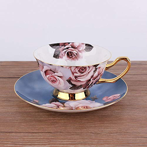 OLDK 200ML Vintage Blue Rose Bloom Gold Painted Fine Bone China Tea Cup and Saucer New Bone China Coffee Cup Set,Blue Blue Fine Bone China