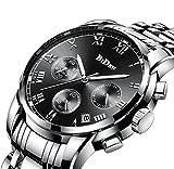Montre, Montres pour hommes, montre de luxe en acier inoxydable chronographe à quartz analogique en acier inoxydable (SilverBlack)