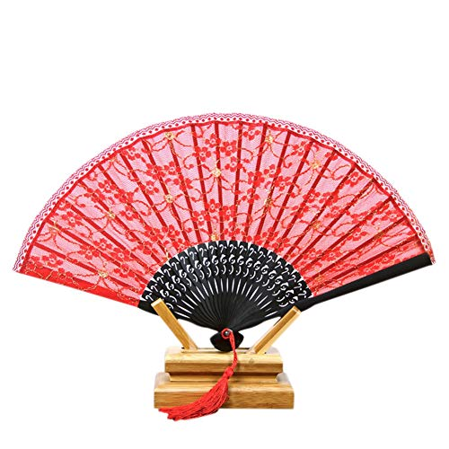 EFINNY Hand-Crafted Double-Layer Cotton Folding Fan Japanese-Style Folding Fans - Japanese Fan Folding - Red