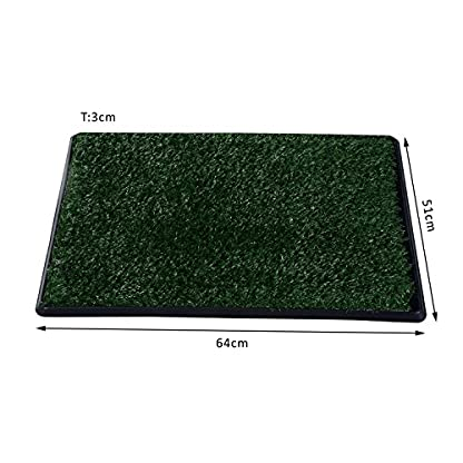 PawHut Indoor Dog Toilet Puppy Cat Pet Training Mat Potty Tray Grass Restroom Portable (51L x 64W x 3T (cm)) 2