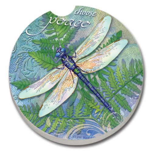 CounterArt Absorbent Stoneware Car Coaster, Dragonfly Inspiration -