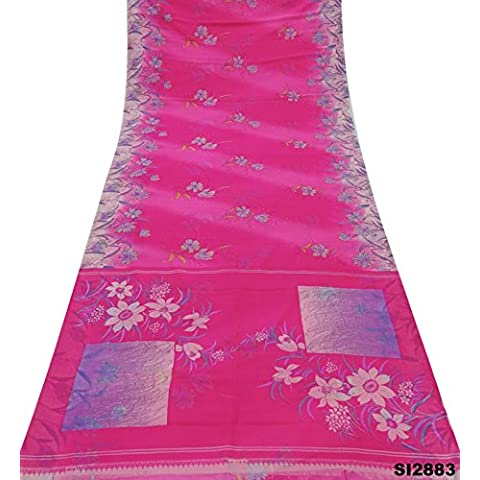 Flores de color rosa Sari antiguas impreso Pareo vestido de Bollywood del abrigo del arte de la decoración del arte Utilizado mezcla de seda sari