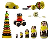Set of 6 Colorful Wooden toys with Wheels & Skills toys:Model OWS-OW001