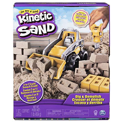Kinetic Sand with of, for Kids Aged 3 and Up, Dig & Demolish Truck Playset con 453 g de Arena cinética, para niños de 3 años y más, Multicolor (Spin Master 6044178)
