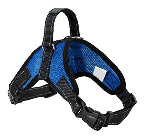 Yiiquanan Hundegeschirr Heavy Duty Mittlere/Große Hunde Geschirr Verstellbar Haustiere Vest Harness Ür Training Oder Walking (Blau, Asia S)