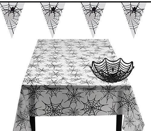 Karneval-Klamotten Tisch- und Raumdeko XL Party Set Halloween Spinnennetz 3 Teile : Tischdecke, Wimpelkette, Korb