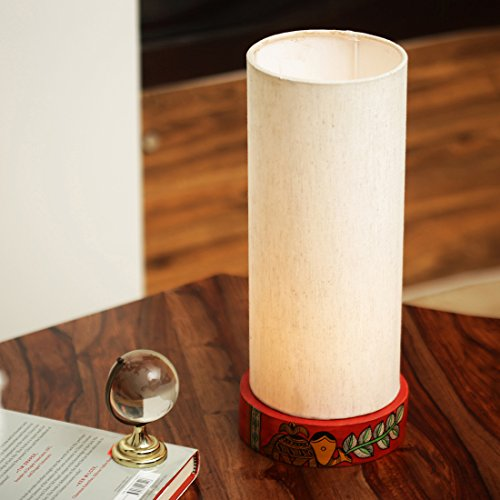 ExclusiveLane 'The Cranberry Elephant' Madhubani Hand-Painted Round Table Lamp In Wood -Indoor Lighting Decorative Gift Bedside Table Lamps for Living Room for Bedroom Modern Table Lamps Night Lamps  available at amazon for Rs.1399