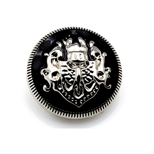 Metall-Knöpfe, Nähknöpfe, Mantelknöpfe, DIY, doppeltes Löwenmotiv, 10er-Pack, Gold-Schwarz, Silberfarben/Schwarz, 23 mm
