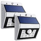 Litom Solarleuchten, Solar LED Wandleuchte, 8 helle LED Außenleuchte mit Bewegungsmelder drahtlose für Garten, Zaun, Garage, Terrasse Silber 2 Stück