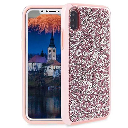 iPhone X Full Diamonds Cover, TAITOU Fashion Shiny Manual Diamante Crystal Bling Custodia, Soft Plated Bumper Anti-Scratch Ultralight Thin Phone Cover for Apple iPhone X Pink BPink