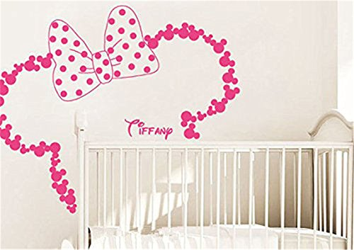 wandaufkleber 3d schlafzimmer Removable Vinyl Wall Stickers Mural Decal Art Home Decor Personalized name Head Ears Minnie Mouse for Kids Nursery room(6
