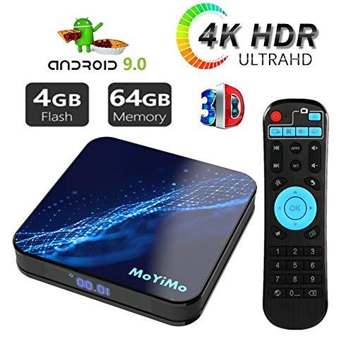 Android 9.0 TV Box,Moyimo-M5 4GB RAM 64GB ROM Smart TV Player ARM 64 Bits Quad Core Processor, Unterstützt Bluetooth 4.0/ H.265/ WiFi/USB/HDMI