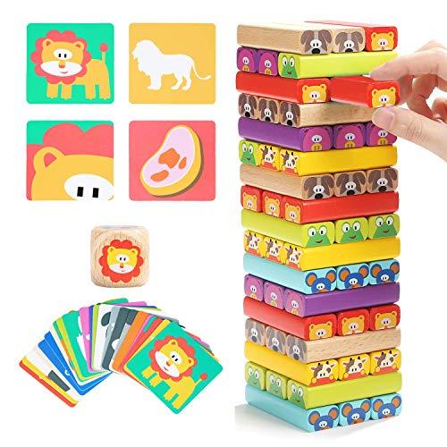Nene Toys - Torre de Bloques Infantil de Madera 4 en 1 con Colores y Animales - Juego de Mesa Educativo para Niños y Niñas de 4 a 8 años - Ideal como Regalo para Compartir entre Padres e Hijos