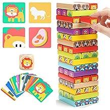 Jenga Infantil de Madera 4 en 1 con Colores y Animales – Juego de Mesa  Interactivo 3bc6a85fe2707