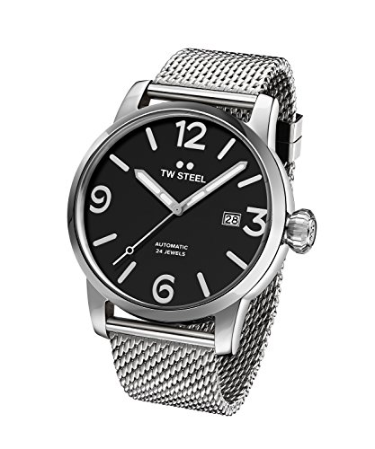 TW-Steel-Maverick-Unisex-Quartz-Watch-with-Black-Dial-Analogue-Display-and-Grey-Stainless-Steel-Bracelet