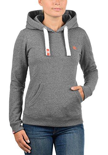 DESIRES Bennja Damen Kapuzenpullover Hoodie Sweatshirt mit Kapuze aus hochwertiger  Baumwollmischung Meliert Grey Melange (8236