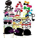 58 DIY Photo Booth Props Atrezzo Favorecer Incluyendo Bigotes Gafas Pelo Arcos Sombreros labios spajaritas coronas para el partido, boda, cumpleaños del favor, de la graduación (58pcs)