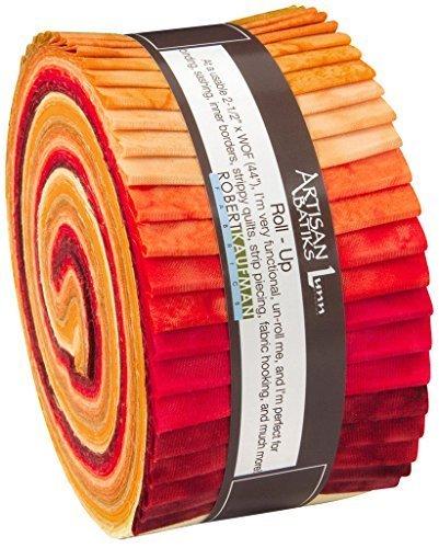 Lunn Studios PRISMA DYES LAVA FLOW BATIKS Roll Up 6,35 cm vorgeschnittene Baumwoll-Stoff-Streifen Jelly Roll Sortiment Robert Kaufman RU-372-40 (Jelly Roll Stoff Batik)