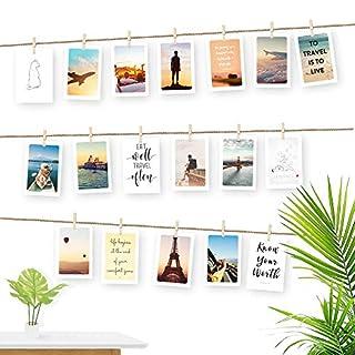 Ecooe Fotoseil für Kreative und Schöne Dekoration DIY Bilderrahmen Wanddekoration 3 Meter Fotoleine mit 30 Mini-Holz-Klammern und 10 spurlosen Nägeln Fotoaufhängung