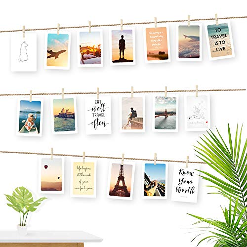 Ecooe Fotoseil für Kreative und Schöne Dekoration DIY Bilderrahmen Wanddekoration 3 Meter Fotoleine mit 30 Mini-Holz-Klammern und 10 spurlosen Nägeln Fotoaufhängung - 3 Schöne Holz
