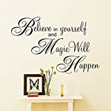 PeiTrade Believe In Yourself Bedroom Sofa Background Wall Sticker Art Decal Home Room Decor Office Wall Mural Wallpaper Art Sticker Decal Paper Mural for Home Bedroom