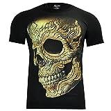 Rock Chang T-Shirt 3D mit Echten Nieten und Piercing Biker Rocker Rock (XXL, 4031)