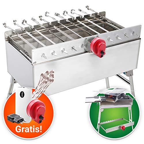 GRILLSET: Mangal aus Edelstahl Grillaufsatz Rambo 2.0 für Schaschlik Fleisch Gemüse mit Motor Powerbank Schaschlikspieße