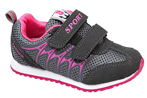 gibra, Sneaker bambine Grigio (dunkelgrau/pink)