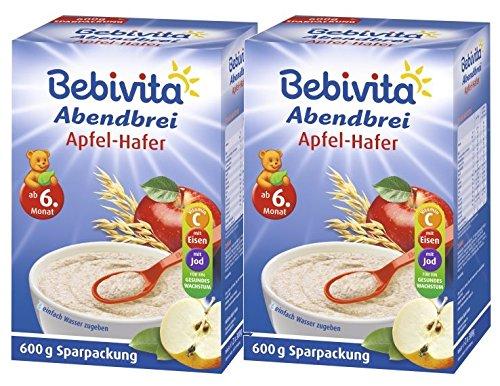 Bebivita Abendbrei Apfel-Hafer - ab dem 6. Monat, 2er Pack (2 x 600g)