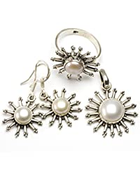 """stargems (TM) Natural Río perla Conjunto de joyería de plata de ley 925diseño único colgante 11/4""""; Anillo 71/2; Pendientes 11/4"""""""