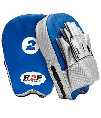 R2F Sports MMA Blau & Splitter Boxen Pads Schlagen Ziel Smartie Fokus Mitts Ausbildung Stanzen Haken & Jab Thai Streik Kick Schild (Mitt Boxen Ziel Mma)