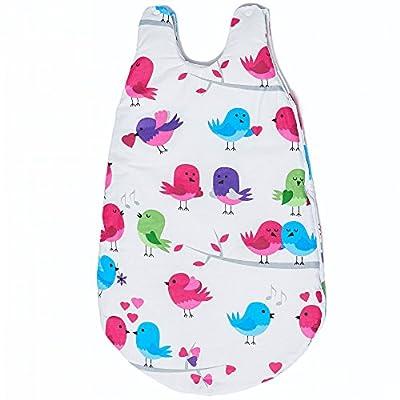 Sevira Kids-Saco para todo el año 0-12 meses, 74 cm de algodón, diseño de pájaros con certificación