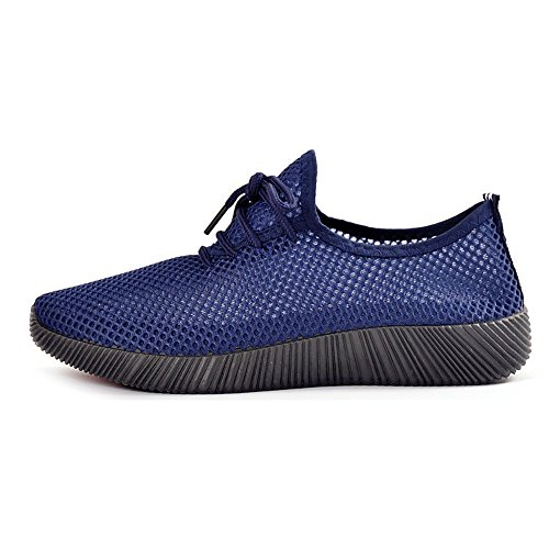 Eastlion Herren Sommer Breathable Mesh Laufschuhe Sportschuhe Strandschuhe Schnürschuhe Sandalen Blau
