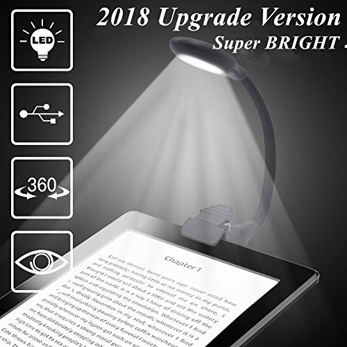 Lámpara de Lectura, Luces de lectura, 80-120Lúmenes, Flexo LED de Pinza con Carga USB, Con 4 Niveles de brillo Ajustable, Con Batería Recargable, es Más Económico y Ecológico