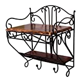 Woodenclave Beautiful Wood & Iron Wall Shelf/Selves For Living Room | With Key Hanger | Brown