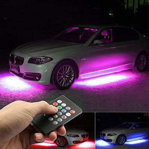 HCHD Niscarda 4X DC12V IP65 RGB 5050 SMD Musikfernbedienung RGB LED-Streifen Unter Der Autoröhre Unterbodenbeleuchtung Neonlicht (Emitting Color : 90cm 120cm)