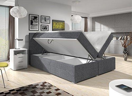 Wohnen-Luxus Boxspringbett 140x200 Bettkasten Grau Stoff Hotelbett Bett Roma